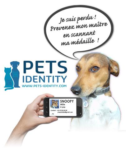 pets identity m daille d 39 identificaton avec qr code pour chiens et chats. Black Bedroom Furniture Sets. Home Design Ideas